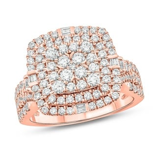 1 1/2 cttw Diamond Engagement Ring in 10Kt White/Yellow/Rose Gold