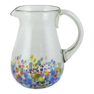Handmade Confetti Festival Blown Glass Pitcher (Mexico)