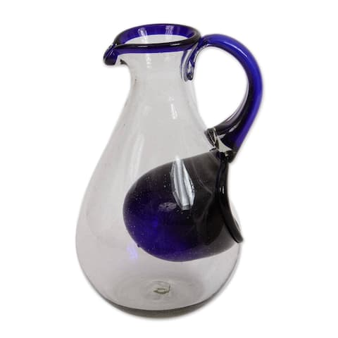 Handmade Fresh Ocean Blown Glass Pitcher With Ice Chamber (Mexico)