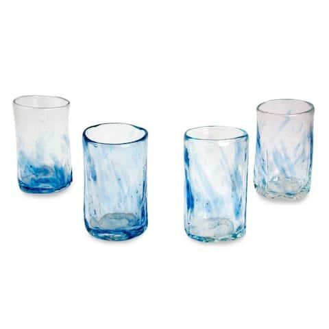 Azure Mist Blown Glass Shot Glasses (Set Of 4)