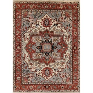 """Indo Heriz Serapi Oriental Hand Knotted Wool Indian Area Rug - 11'11"""" x 8'11"""""""