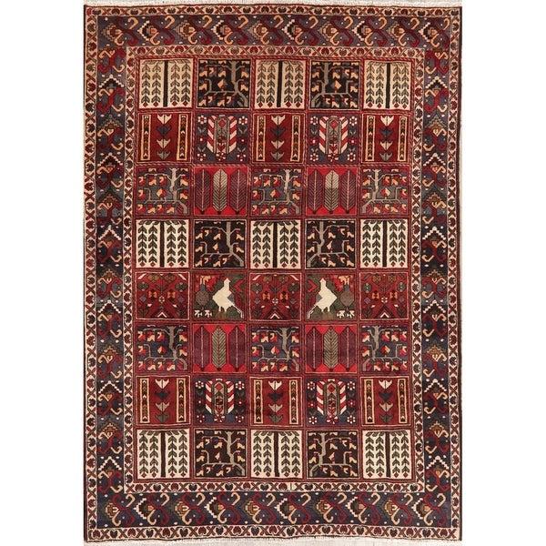 "Vintage Bakhtiari Patchwork Oriental Handmade Wool Persian Area Rug - 9'10"" x 6'10"""