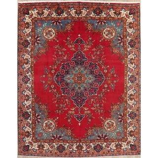 "Vintage Tabriz Medallion Oriental Hand Knotted Wool Persian Area Rug - 12'8"" x 9'9"""