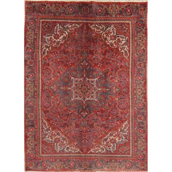 "Vintage Heriz Oriental Hand Knotted Wool Persian Area Rug - 9'3"" x 6'7"""