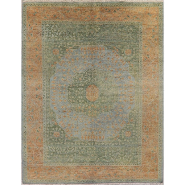 "Muted Distressed Oushak Oriental Hand Knotted Wool Indian Area Rug - 11'9"" x 9'4"""