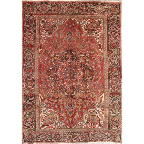 "Vintage Heriz Oriental Hand Knotted Wool Persian Area Rug - 10'0"" x 6'10"""