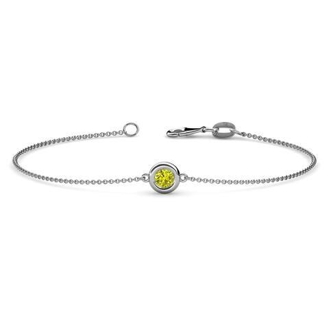 TriJewels Yellow Diamond Solitaire Station Bracelet 0.25 ct 14KW Gold