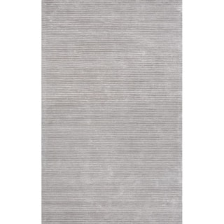 Edgy Silver Hand-Tufted Bamboo Silk & Wool Rug - 10' x 14'