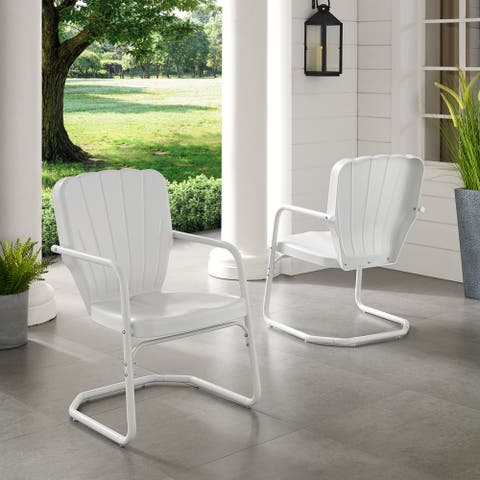 Dublin Bay White Metal Chairs (Set of 2) by Havenside Home
