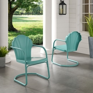 Diana Bay Blue Retro Metal Chairs (Set of 2) by Havenside Home