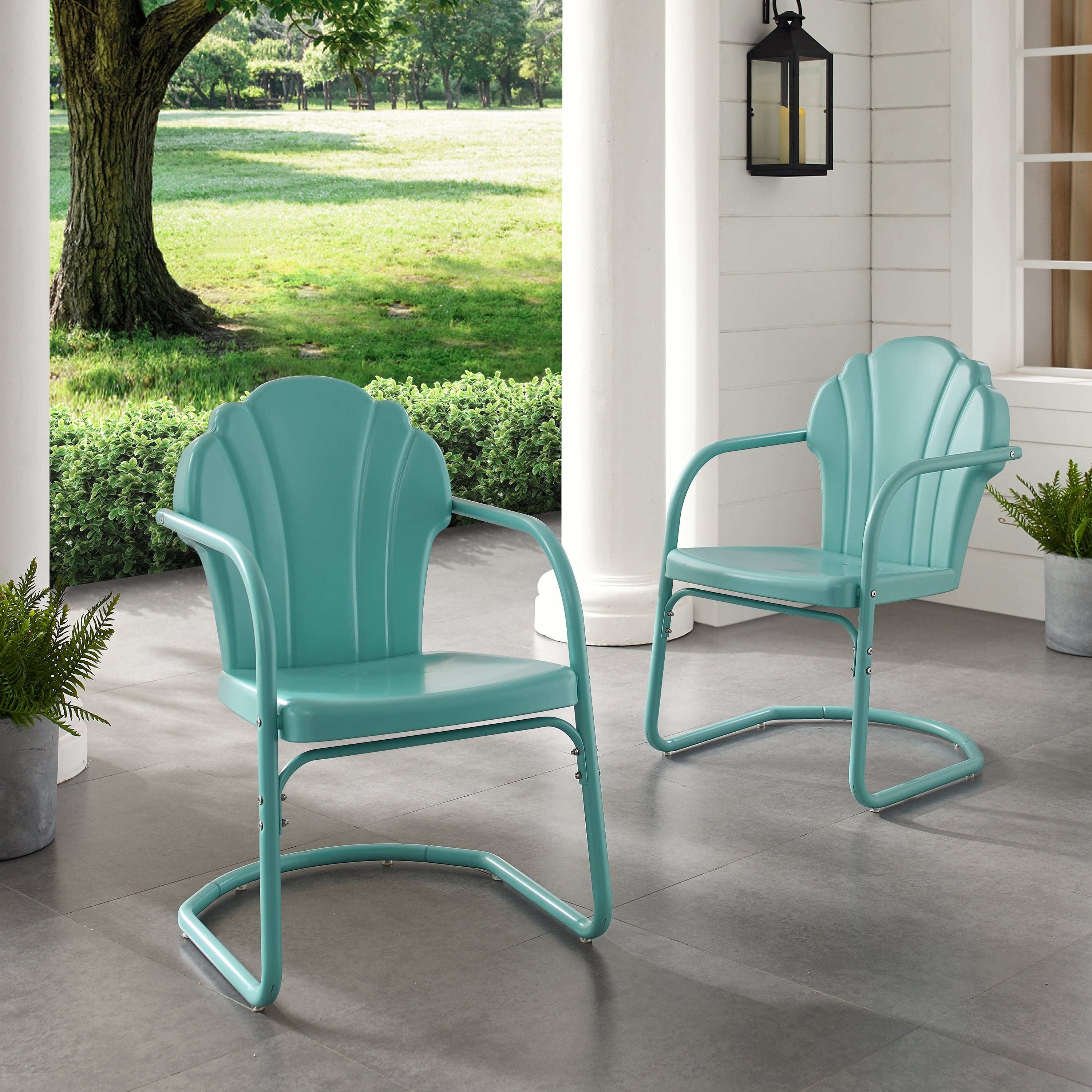 Diana Bay Blue Retro Metal Chairs