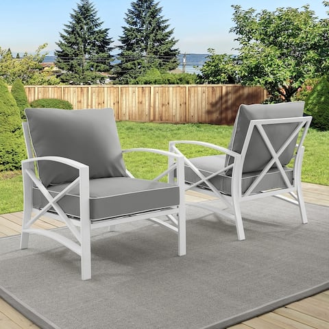 Davis 2-piece Outdoor Chair Set in White with Grey Cushions by Havenside Home