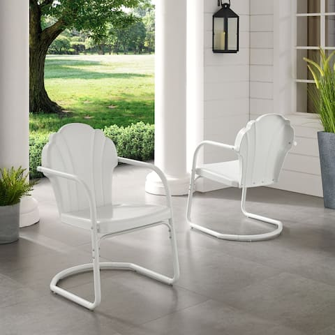 Diana Bay White Retro Metal Chairs (Set of 2) by Havenside Home
