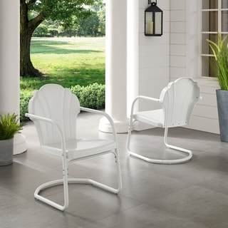 Link to Diana Bay White Retro Metal Chairs (Set of 2) by Havenside Home Similar Items in Patio Chairs