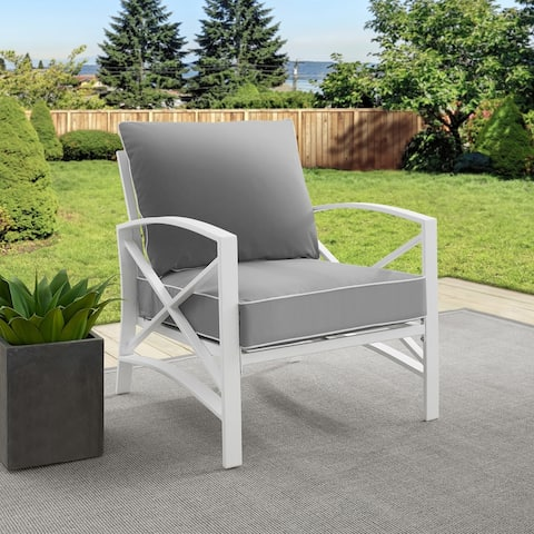 Davis Arm Chair in White with Grey Cushions by Havenside Home