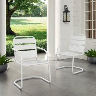Link to Baie Verte White Metal Chairs (Set of 2) by Havenside Home Similar Items in Patio Chairs