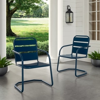 Link to Baie Verte Blue Metal Chairs (Set of 2) by Havenside Home Similar Items in Patio Chairs