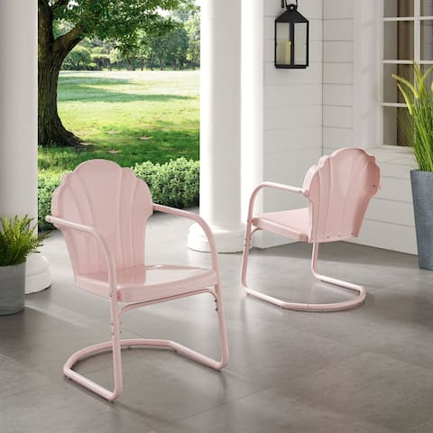 Diana Bay Pink Retro Metal Chairs (Set of 2) by Havenside Home