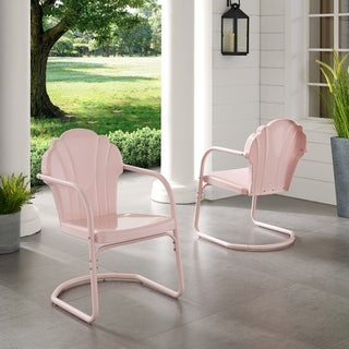 Havenside Home Diana Bay Pink Retro Metal Chairs (Set of 2)