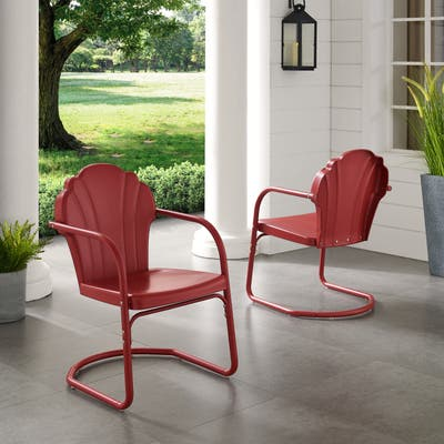 Diana Bay Red Retro Metal Chairs (Set of 2) by Havenside Home
