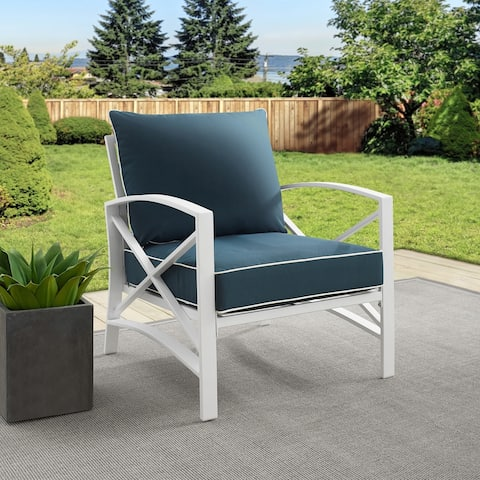 Davis Arm Chair in White with Navy Cushions by Havenside Home