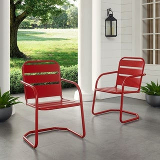 Link to Baie Verte Red Metal Chairs (Set of 2) by Havenside Home Similar Items in Patio Chairs