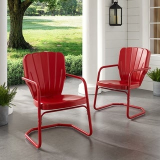 Link to Dublin Bay Red Metal Chairs (Set of 2) by Havenside Home Similar Items in Patio Chairs