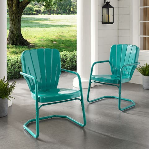 Dublin Bay Turquoise Metal Chairs (Set of 2) by Havenside Home