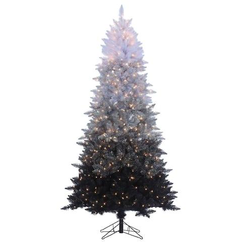 Gerson 7.5' Vintage Black Prelit Ombre Spruce Artificial Christmas Tree