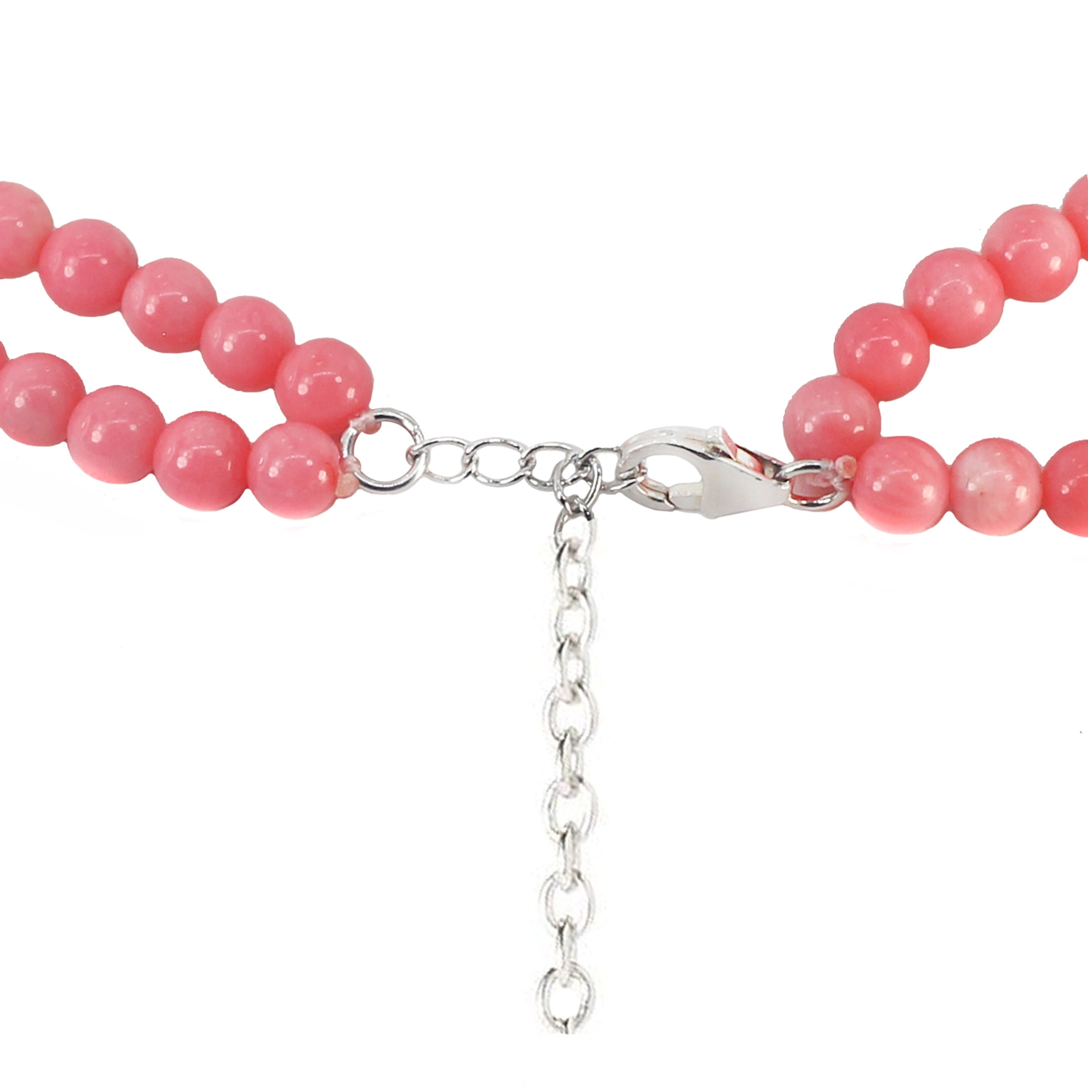 Bailysbeads noble Designer Pink topacio collar cadena Collier facetada 025