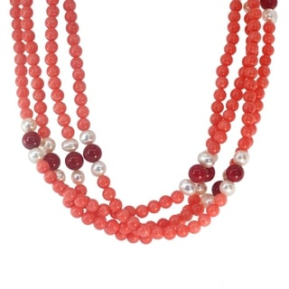 Michael Valitutti Palladium Silver Salmon And Red Coral Pearl Knotted Multi Strand Beaded Necklace