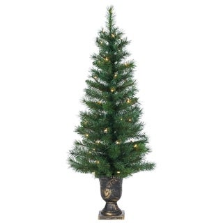 Gerson 4' Idaho Pine Flocked Potted Prelit Artificial Christmas Tree
