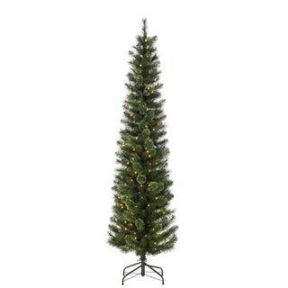 Gerson 7.5' Prelit Cashmere Pencil Artificial Christmas Tree