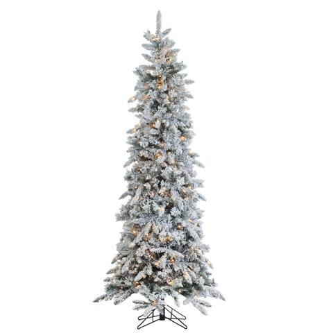 Gerson 7.5' Prelit Narrow Flocked Pencil Pine Artificial Christmas Tree