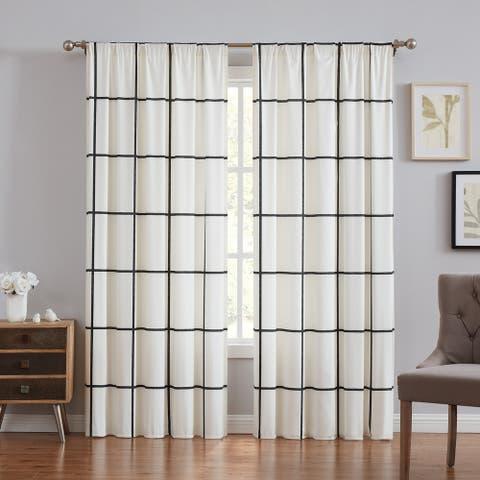 Carson Carrington Tomteboda Modern Windowpane Window Curtain - Window Curtain