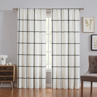 Carson Carrington Tomteboda Modern Windowpane Window Curtain in Ivory (As Is Item)