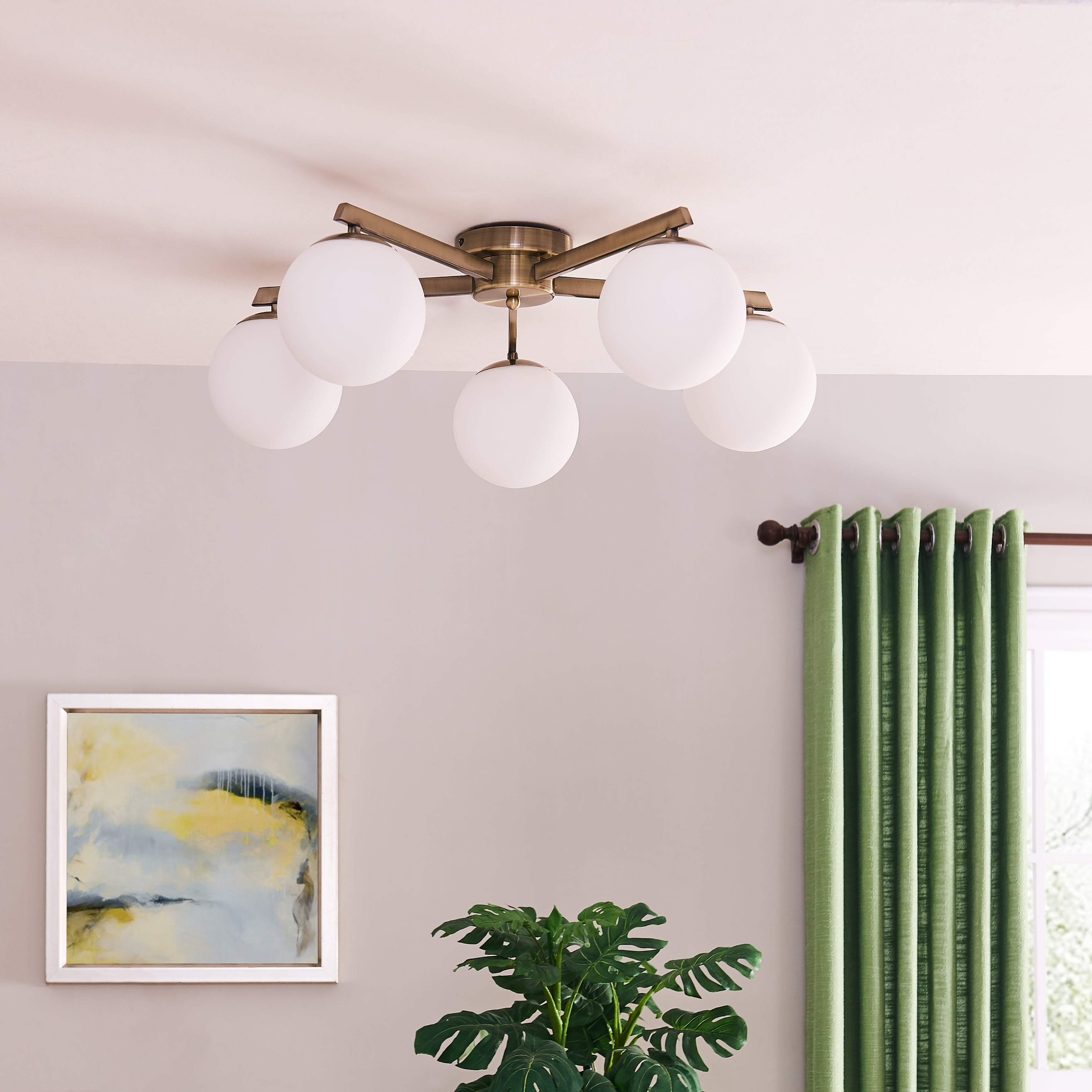 Image of: Shop Black Friday Deals On Carson Carrington Lynda Midcentury Modern Sputnik Globe Semi Flush Mount Light Overstock 28478005