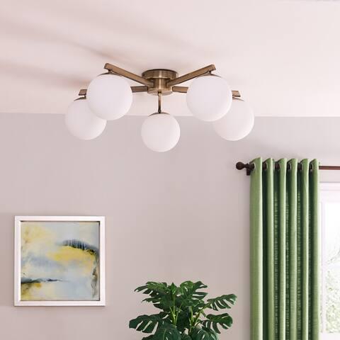 Carson Carrington Lynda Midcentury Modern Sputnik Globe Semi-Flush Mount Light