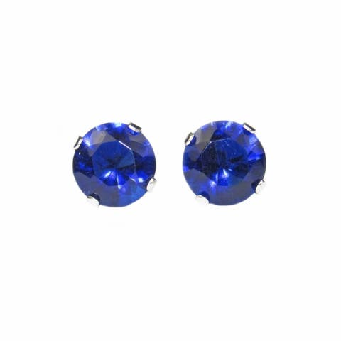 Pearl Lustre Round Tanzanite 14 kt White Gold Earring Studs.