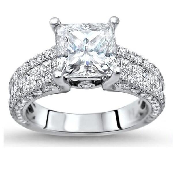 3.60 Carat Prong Setting Cushion Cut Diamond 14K White Gold Engagement Ring