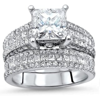 Link to 4.10ct TGW Princess Cut Moissanite and Diamond Engagement Ring Bridal Set 14k White Gold Similar Items in Rings