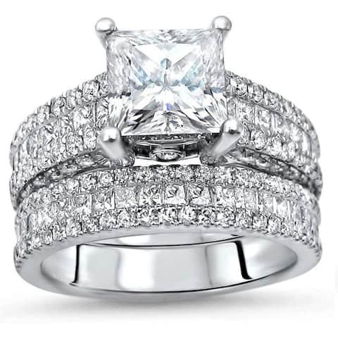 5.10ct TGW Princess Cut Moissanite and Diamond Engagement Ring Bridal Set 14k White Gold