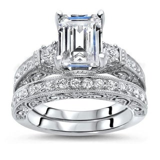 2 50ct Emerald Cut Moissanite And Diamond Engagement Ring Bridal Set 18k White Gold