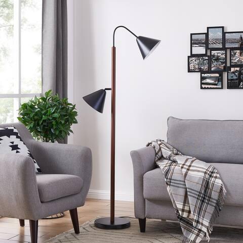 Strick & Bolton Madero Scandinavian Brown Black Metal Floor Lamp