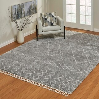 The Curated Nomad Oakdale Shag Kamani Grey Area Rug