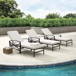 Havenside Home Davis Chaise Lounge Chair in Bronze with Oatmeal Cushions