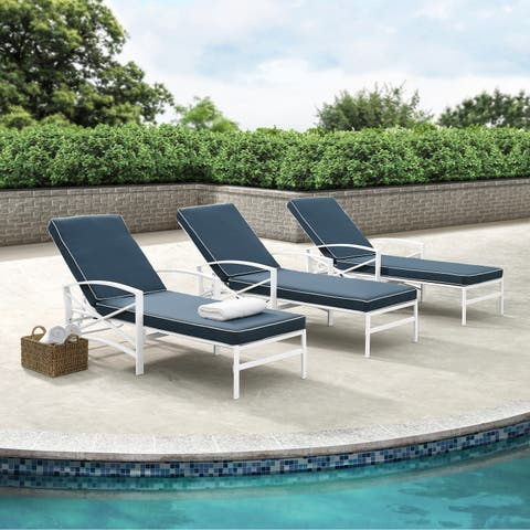 Havenside Home Davis Chaise Lounge Chair in White with Navy Cushions