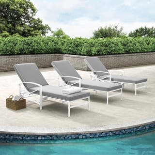 Havenside Home Davis Chaise Lounge Chair in White with Grey Cushions