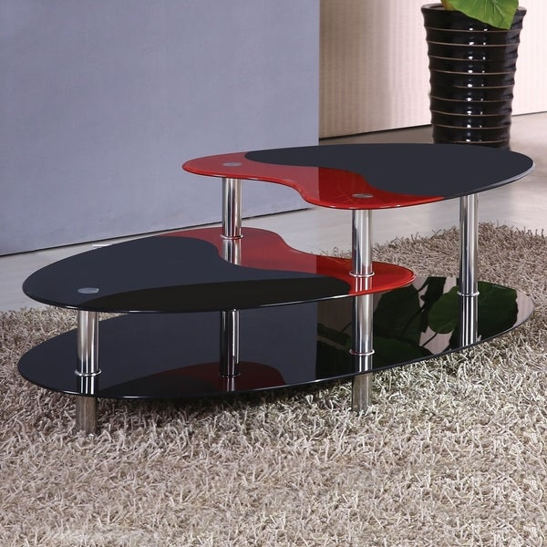 Shop Woods Black And Red Oval Multi-tiered Glass Coffee