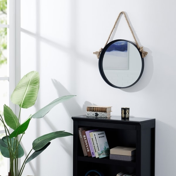 "Danya B. 18"" Black Iron Framed Round Accent Mirror with Hanging Rope"